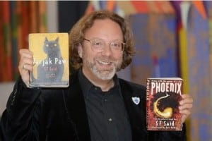 SF Said with his two books Varjak Paw and Phoenix