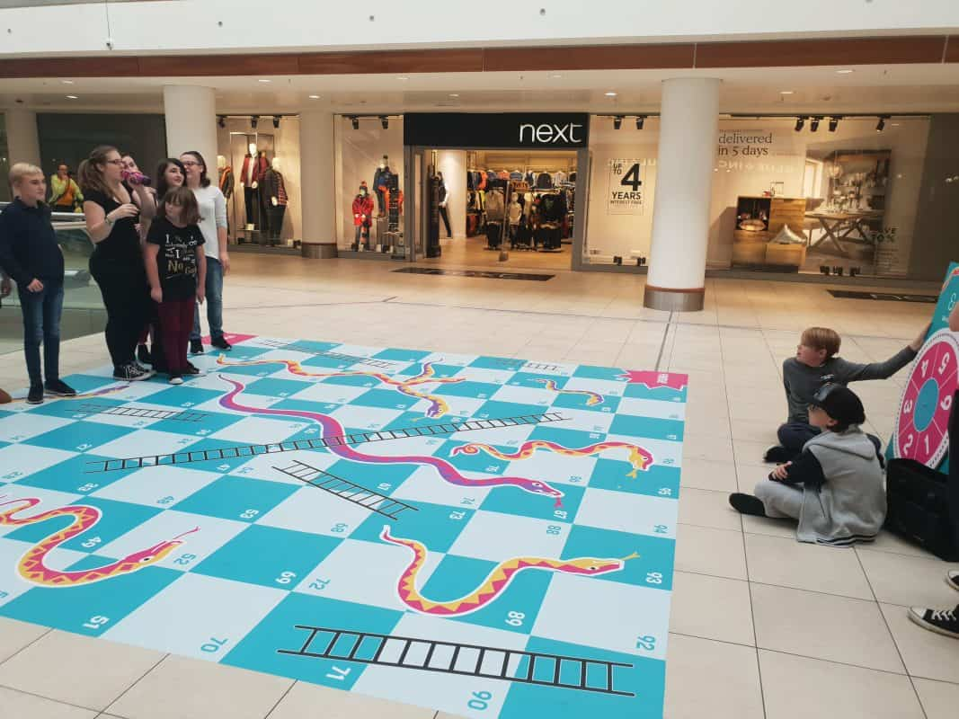 gateway 97.8 Radio Club Play Snakes and Ladders in the Basildon Eastgate Centre